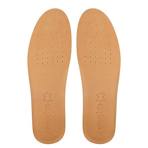 COSYINSOFA Plantillas de cuero, plantillas de cuero de absorción de impactos para hombres y mujeres, suelas interiores ultra suaves y confortables para zapatos y botas