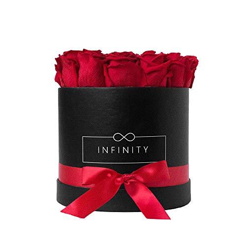 Infinity Flowerbox Large (Nero) - 18 rose vero premio in rosso vivace