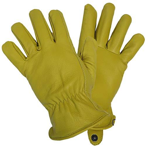 GEAR レザーグローブ(革手袋) ドライバー/ワーク/バイク ディアスキン(鹿革) (XS, ゴールド(黄色))