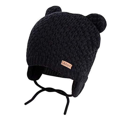Winter Beanie Hat for Baby Kids Toddler Infant Newborn, Earflap Cute Warm Fleece Lind Knit Cap for Boys Girls (Black)