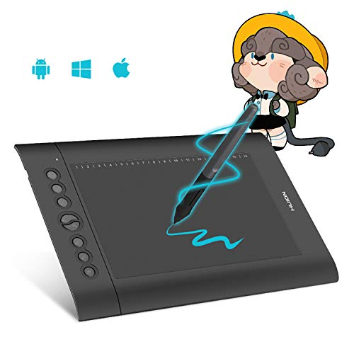 HUION H610Pro V2 Grafiktablett, batterieloser Stift,Tilt-Funktion Neigungsfunktion und 8192 Stufen Stiftdrucksensibilität, mit 8 Drucktasten Grafiktablett mit Display grafiktablett für pc