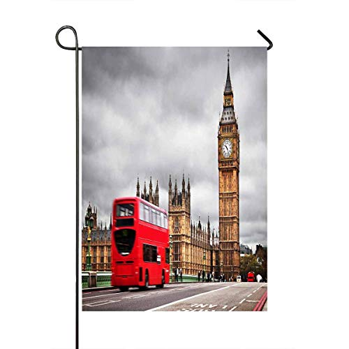 London The UK Red Bus Big Ben Westminster Palace Yard Decor Home Garden Flag Size 12x18 Inches