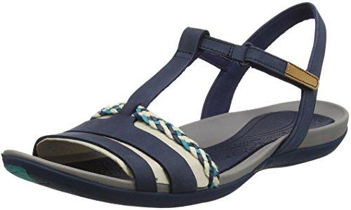 Clarks Tealite Grace, Sandalias con Tira Vertical para Mujer, Azul (Navy), 42 EU