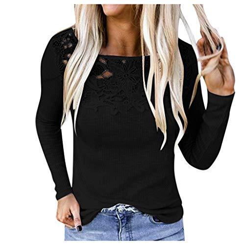 FAMILIZO Camisetas Mujer Verano Blusa Mujer Elegante Camisetas Mujer Fiesta Algodón Tops Mujer Fiesta Camisetas Sin Espalda Mujer Tops Mujer Fiesta Blusa Negra Mujer Manga Larga (S, Negro)