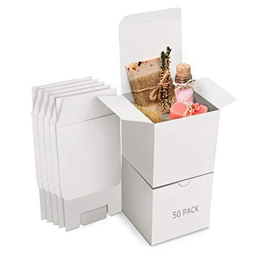 Belle Vous Cajas de Cartón Kraft Blancas (Pack de 50) – Medidas de las Cajas 7,5 x 7,5 x 7,5 cm - Caja Kraft Fácil Ensamblado Cuadrada - Cajas Blancas para Fiestas, Cumpleaños, Bodas, Regalos