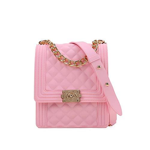 Xiaobei Bolsa de Arco Iris de Las señoras Bolsa de Cadena Oblicua Femenino Plaid Flip Verano Hermosa Bolsa de teléfono móvil Multifuncional Messenger Bag-Rosa