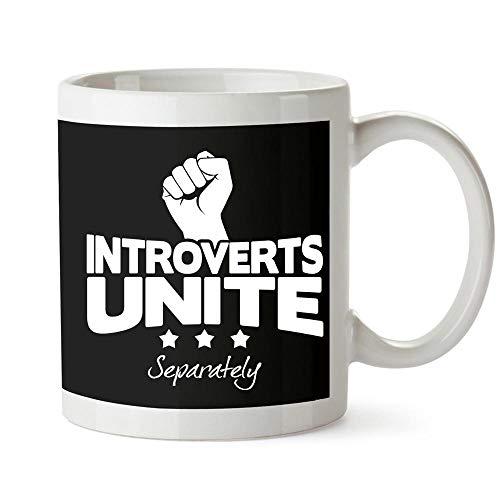 Idakoos Introverts Unite Separately Taza cerámica 11 onzas