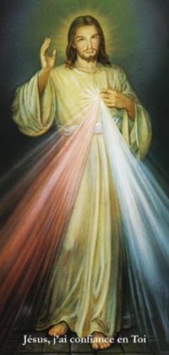Affiche de Jesus miséricordieux : Peinture d'Adolf Hyla (glissé dans un tube, 80 X 29,5 cm). Avec la mention dictée par Jésus à sainte Faustine : Jésus, j'ai confiance en toi