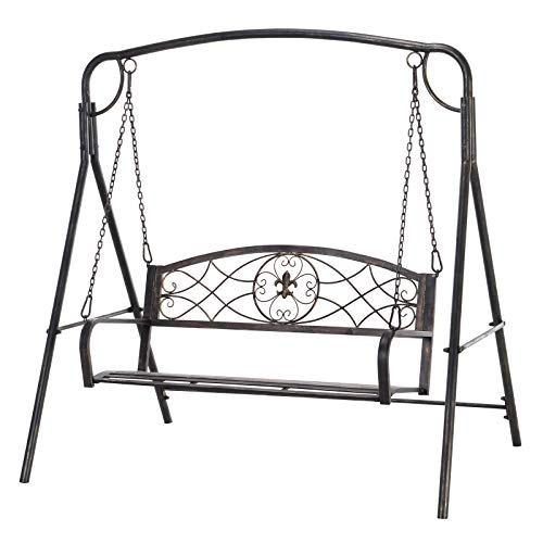 Outsunny Garden Outdoor Patio 2-Seater Metal Swing Chair Bench Hammock Modern Style - Black