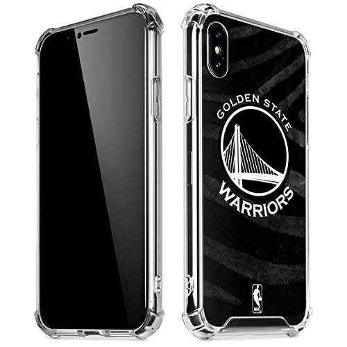 Skinit Clear Phone Case Compatible with iPhone X/XS - Officially Licensed NBA Golden State Warriors Black Animal Print Design