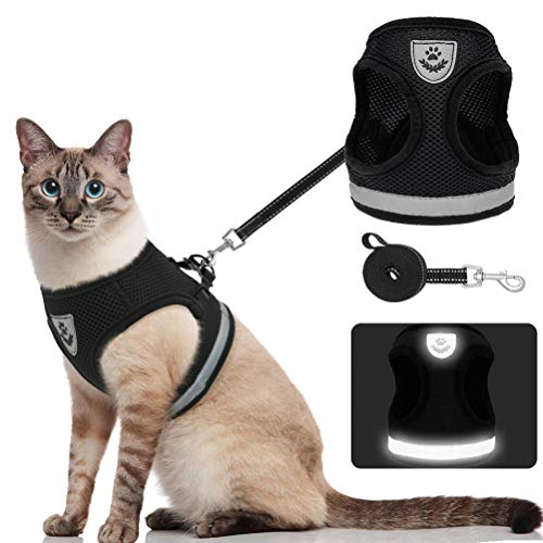 KOOLTAIL Escape Proof Cat Harness with Leash - Adjustable Vest Harness and Leash for Walking - Breathable Mesh and Reflection Strap - for Cats and Puppy
