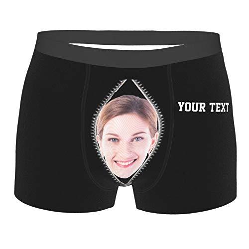 Zhengyun Personalisierte Boxershorts Boxer Briefs Benutzerdefinierte Foto Gesicht Text Unterwäsche Shorts Unterhosen Einzigartige Liebesherzen Umarmung Gedruckte Boxer Trunks für Männer Jungen