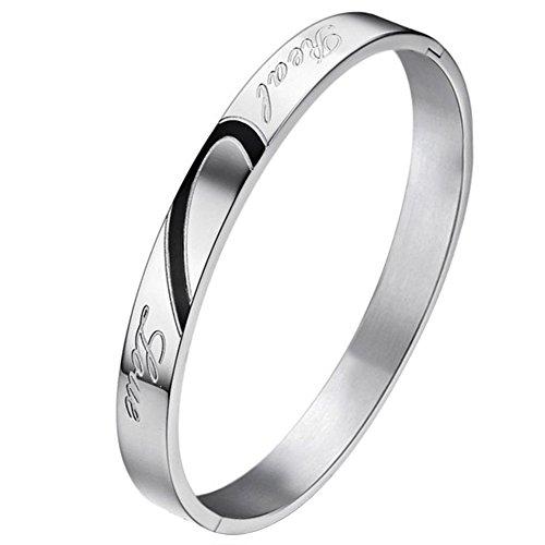 JewelryWe Schmuck Edelstahl Damen Herren Armband Armbänder Armreif Herz Form mit Real Love Gravur Versprechen