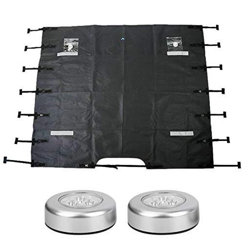Protector de cubierta de remolque Escudo frontal de caravana de tela Oxford negra universal con luces LED, duradero y de larga vida útil