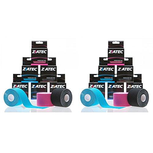 Cinta de Kinesiología ZiATEC Pro | Cinta deportiva elástica e impermeable, cinta de fisio, kinesio-tape (4,5 m x 5 cm), 100% algodón, varios colores, color:12 x mezcla de colores