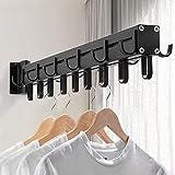 TuCao Perchero giratorio multifunción, 60 cm, resistente, para colgar ropa, con 21 ganchos, barra para colgar en el armario, ideal para lavandería/dormitorio