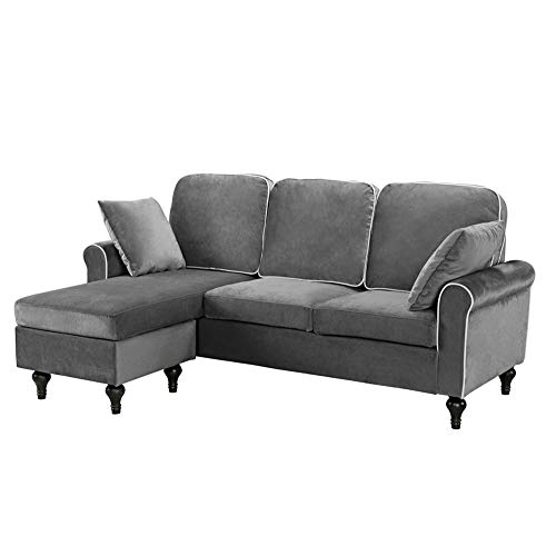 Casa Andrea Milano llc Classic and and Traditional Small Space Velvet Sectional Sofa with Reversible Chaise, Grey