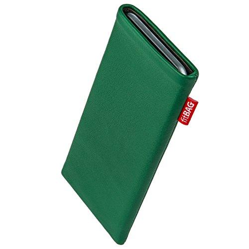 fitBAG Beat Smaragd Handytasche Tasche aus Echtleder Nappa mit Microfaserinnenfutter für Thomson Connect TH701 | Hülle mit Reinigungsfunktion | Made in Germany