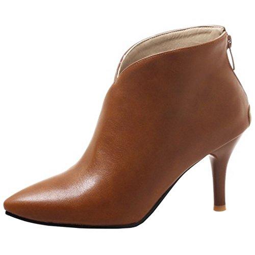Zanpa Femmes Talons Hauts Bottines pointu Chaussures de Chevilles Zipper HuangSe Taille 39