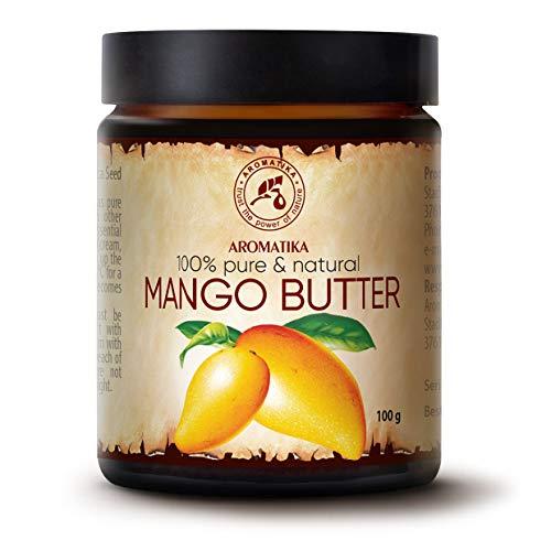Beurre de Mangue 100g - Mangifera Indica - Indonésie - 100% Pur et Naturel - Huile Raffiné - Soin du Visage Intensif - Corps - Cheveux - Peau - pour la Massage - Soin du Corps - Bouteille en Verre