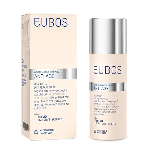 Eubos | Hyaluron Day Repair Plus LSF 20 | 50ml | Anti Falten Tagescreme für trockene und alle...