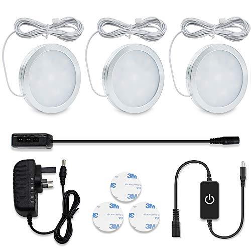 LightingWill LED Under Cabinet Puck Lights, LED Under Counter Lighting Kit,...