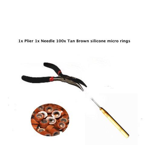 Kit plume aiguille extension cheveux anneaux silicone marron clair 100 5 mm.