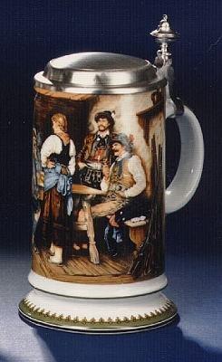 Bierseidel Bier-Krug Galeriekrug mit Zinndeckel 0,5l Wilderer in der Hütt'n