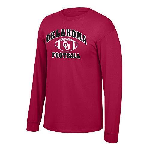 Elite Fan Shop NCAA Fußball-T-Shirt, langärmelig, Teamfarben, Herren, NCAA Football Long Sleeve T-Shirt Team Color, Oklahoma Sooners Cardinal, Small