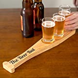 The Beer Bat Baseball Beer Flight Set with Hardwood Bat Paddle and 3 Beer Tasting Glasses (5oz) - A fun gift for Beer Lovers and Baseball Fans and a Great Valentines Gift for Him or Her