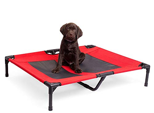 Internet's Best Dog Cot - 30 x 24.5 - Elevated Dog Bed - Cool Breathable Mesh - Indoor or Outdoor Use - Medium - Red