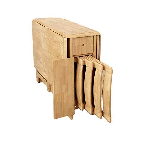 AWCPP Juego de comedor de 5 piezas con mesa de hojas abatibles de 51 'de largo, escritorio de oficina en casa plegable multifuncional con 4 sillas, no necesita ensamblaje