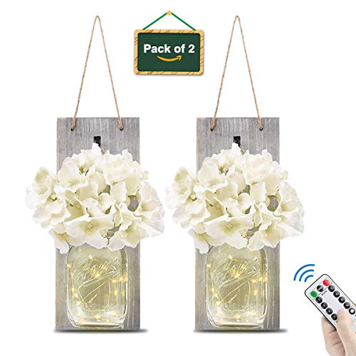 HLYOON Mason Jar Sconce Wall Decor—Home Wall Decor Remote Control with LED Timer Rustic Wooden Board Bronze Retro Hooks(Set of 2)