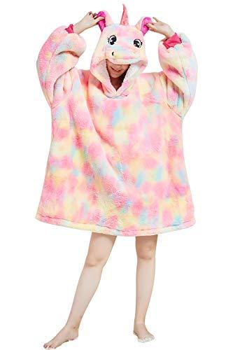 YAOMEI Unisex Übergroße Hoodie Sweatshirt Decke, Einhorn Winter Warm Weich Sherpa Riesen-Hoodie Pullover Decke mit Kapuze Nachthemd Schlafanzug für Männer Frauen (Orange, L)