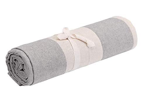 Biancheria Store Tela decorativa para cubrir sofás a rayas en 2 tamaños – Fabricada en Italia Gran Foulard multiusos tela multiusos para cubrir sofás o sillones, color gris – 160 x 280 cm