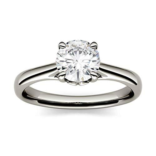 Charles & Colvard Forever One anillo de compromiso - Oro blanco 14K - Moissanita de 6.5 mm de talla redonda, 1.046 ct. DEW, talla 9,5