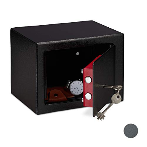 Relaxdays Möbeltresor mit Schlüssel, Doppelbartschloss, Befestigung Wand o. Boden, Minisafe, HBT: 17 x 23 x 17, schwarz