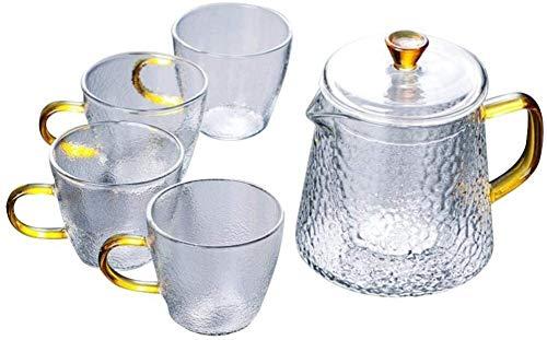 Bouilloire induction Théière Set Glass 600ml Capacité 1 Pot + 4 Tasses Haute température Maintien de l'arôme de thé pour le bureau de la maison en plein air WHLONG