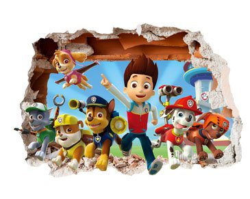 PAW Patrol 3D Smashed Wall Stickers - for Bedroom boy and Girls Mural Decal Wall Art Size: Large 75 cm X 55 cm