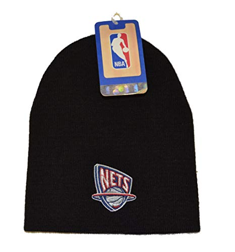 adidas New Jersey Nets Black Vintage Skull Cap - NBA Brooklyn Cuffless Winter Knit Beanie Toque Hat