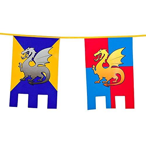 Boland 44000 - Wimpelkette Ritter & Drachen, Länge 6 m, Burg, Wappen, Hängedekoration, Girlande, Geburtstag, Partydekoration, Partygeschirr, Motto, Party, Karneval