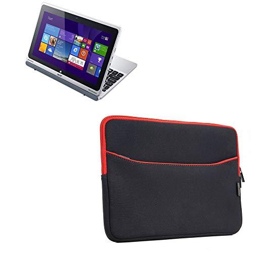 BoxWave Schutzhülle für Acer Aspire Switch 10 (SW5-011) [SoftSuit mit Tasche] Weiche Tasche mit Hülle für Acer Aspire Switch 10 (SW5-011) – Tiefschwarz mit rotem Rand
