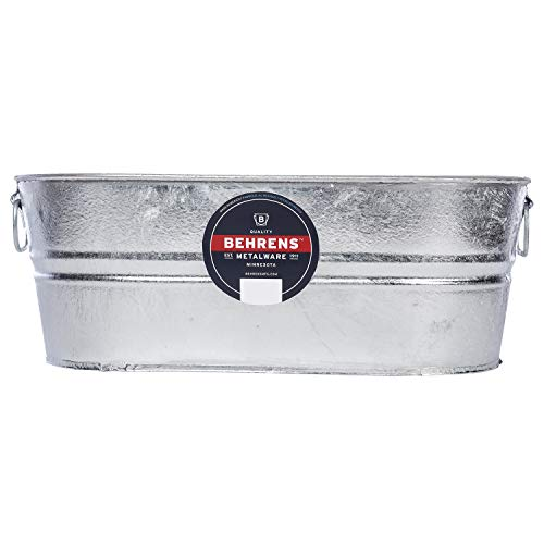 Behrens 0-OV Hot Dipped Galvanized Steel Oval PlanterTub, 5-1/2-Gallon, silver