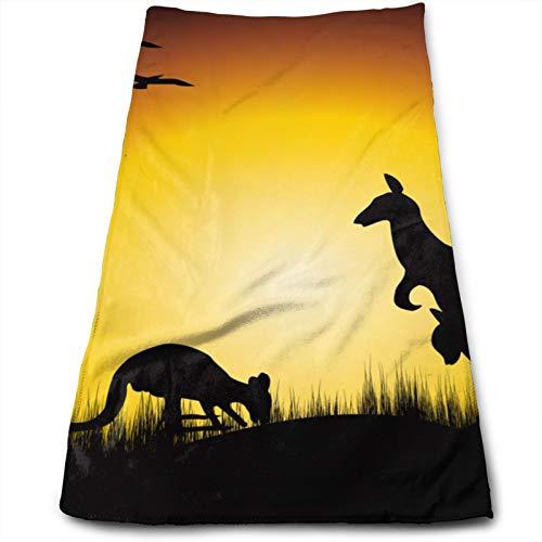 Kangaroo Sunset Australia Toalla de Mano, Toalla de Viaje, Toalla de baño, Toallitas Muy absorbentes Toallas Multiusos 70x30 cm