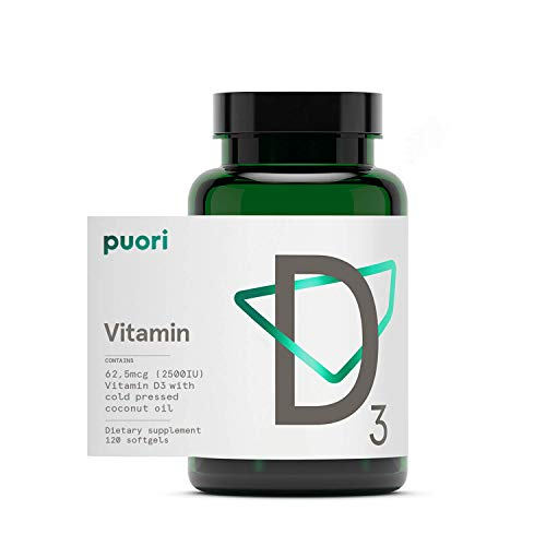 Puori Vitamin D3 with Organic Coconut Oil - 120 x 2500 IU - for Healthy Muscle Function, Bone Health, Immune Support and Calcium Uptake- Non-GMO and Gluten Free - For Children and Adults