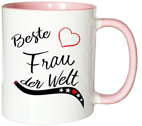 Mister Merchandise Kaffeebecher Tasse Beste Frau der Welt Ehefrau Heirat Ehe Danke Teetasse Becher Weiß-Rosa