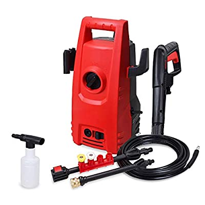 Eletron 1600PSI 1.2GPM Electric Pressure Washer,Electric Power Washer with 2 Quick-Connect Spray Tips and Wand,Car Washer(Red)