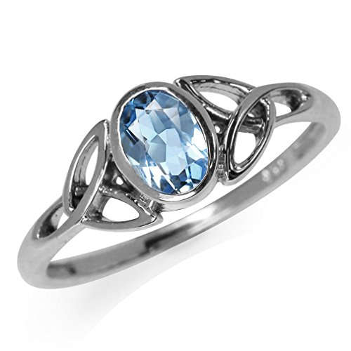 Silvershake Genuine Blue Topaz White Gold Plated 925 Sterling Silver Triquetra Celtic Knot Ring Size 6.5