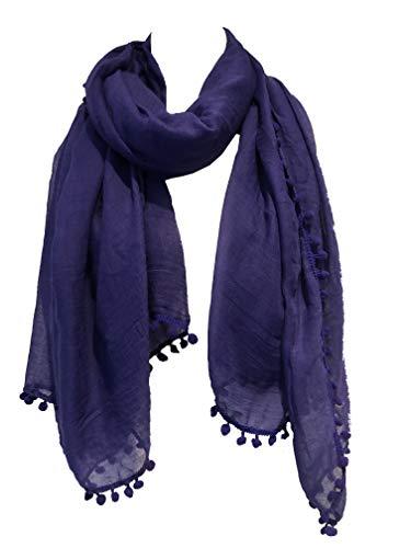Pamper Yourself Now Dunkel lila schlicht Schal/Wrap mit Bommeln- Dark purple plain scarf/wrap with bobbles