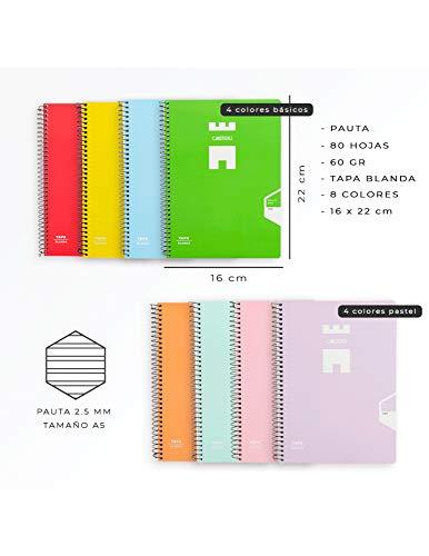 Casterli - Pack De 8 Cuadernos Espiral, Tapa Blanda, Tamaño A5, 60gr - COLORES SURTIDOS (Interior Pauta 2.5)